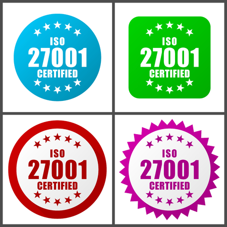 Iso 27001 vector icon set.  Colorful internet buttons in four versions