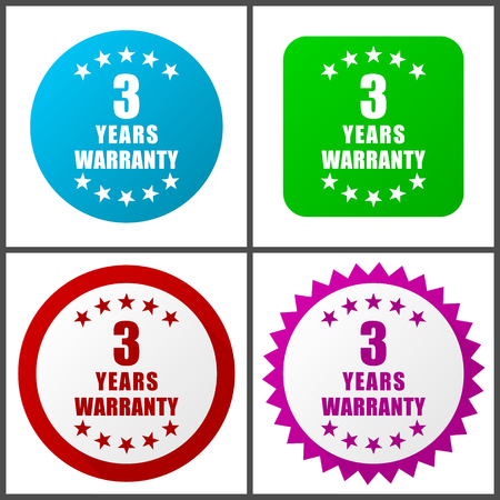 Warranty guarantee 3 year vector icon set.  Colorful internet buttons in four versions