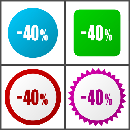 40 percent sale retail vector icon set.  Colorful internet buttons in four versions Çizim