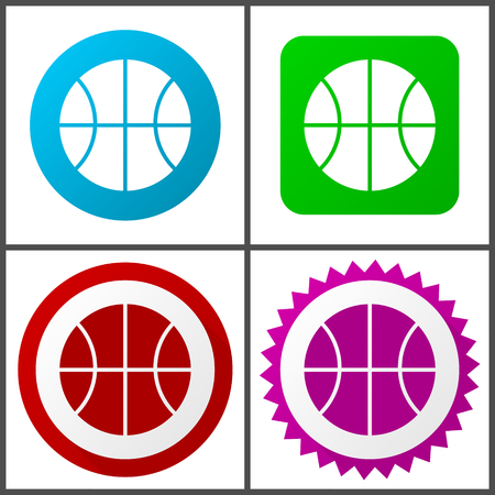 Ball vector icon set. Colorful internet buttons in four versions