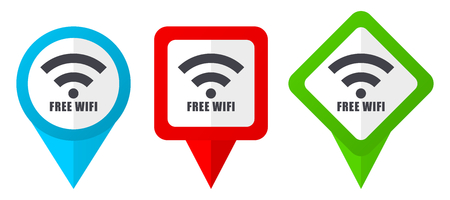Free wifi red, blue and green vector pointers icons. Set of colorful location markers Ilustração