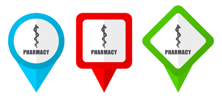 Pharmacy red, blue and green vector pointers icons. Set of colorful location markers isolated on white background easy to edit in eps 10 Illustration