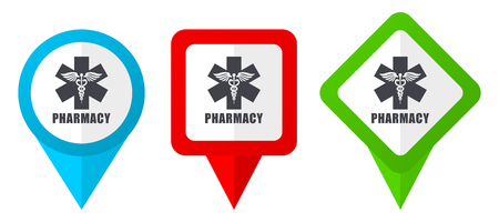 Pharmacy red, blue and green vector pointers icons. Set of colorful location markers isolated on white background easy to edit in eps 10 Ilustracja