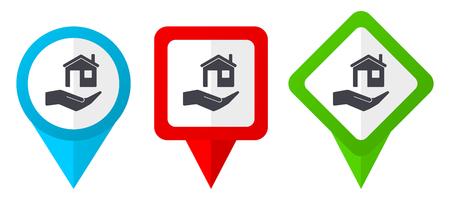Icone dei puntatori di vettore rosso, blu e verde di cura della casa. Set di indicatori di posizione colorati isolati su sfondo bianco facili da modificare in eps 10