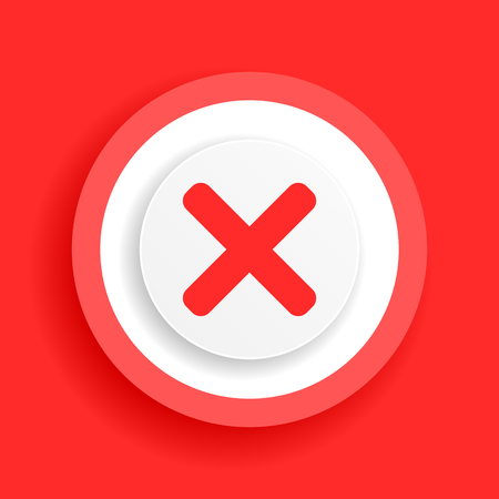 cancel red sign, cross vector icon Illustration