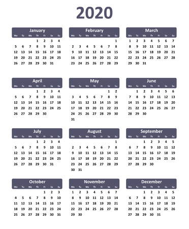 Simple editable vector calendar for year 2020
