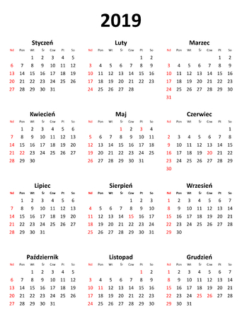 Simple editable vector calendar for year 2019 in Polish isolated on white background