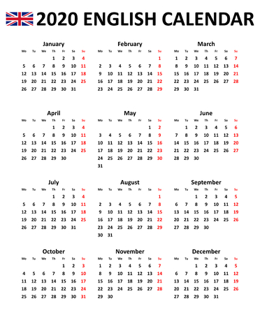 Calendario vectorial editable simple para el año 2020 en inglés aislado sobre fondo blanco.