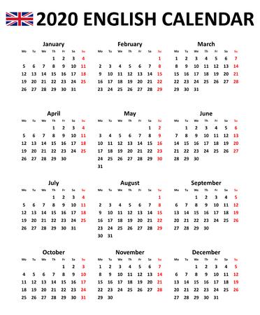 Calendario vettoriale modificabile semplice per l'anno 2020 in inglese isolato su sfondo bianco