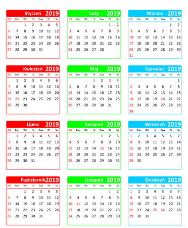 Simple colorful editable vector calendar for year 2019 in Polish isolated on white background