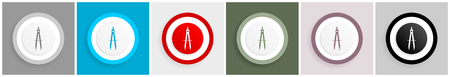 Learning icon set, vector illustrations in 6 options for web design and mobile applications