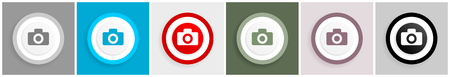 Camera icon set, vector illustrations in 6 options for web design and mobile applications