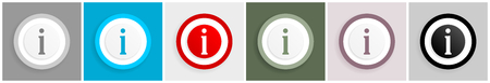 Information icon set, vector illustrations in 6 options for web design and mobile applications