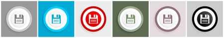 Disk icon set, vector illustrations in 6 options for web design and mobile applications