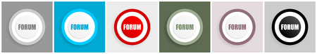 Forum icon set, vector illustrations in 6 options for web design and mobile applications