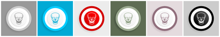 Skull icon set, vector illustrations in 6 options for web design and mobile applications