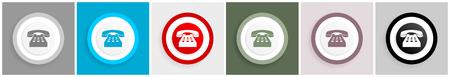 Jeu d'icônes de téléphone, illustrations vectorielles en 6 options pour la conception Web et les applications mobiles