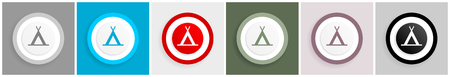 Camp icon set, vector illustrations in 6 options for web design and mobile applications