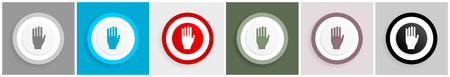 Stop icon set, vector illustrations in 6 options for web design and mobile applications