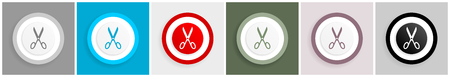 Scissors icon set, vector illustrations in 6 options for web design and mobile applications