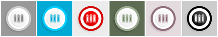 Battery icon set, vector illustrations in 6 options for web design and mobile applications