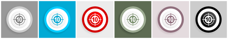 Target icon set, vector illustrations in 6 options for web design and mobile applications Illustration