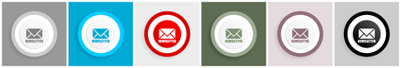 Newsletter icon set, vector illustrations in 6 options for web design and mobile applications 向量圖像