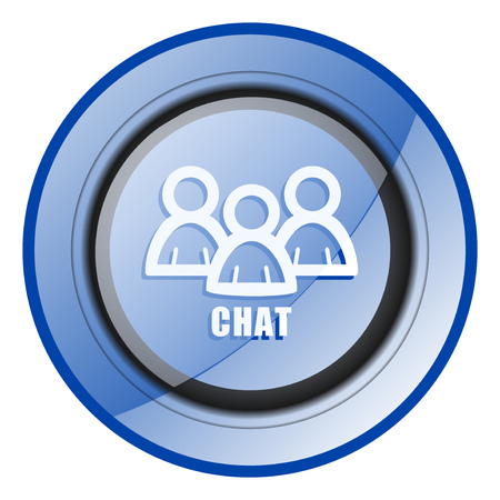 Chat round blue glossy web design icon isolated on white background