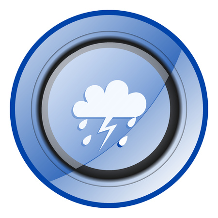Storm round blue glossy web design icon isolated on white background