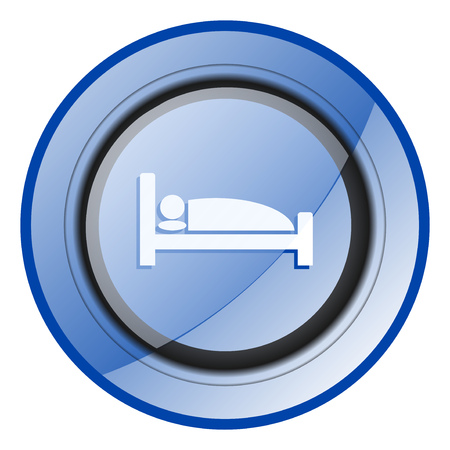 Hotel round blue glossy web design icon isolated on white background