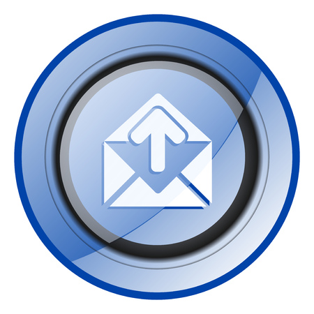 Email round blue glossy web design icon isolated on white background Stock Photo