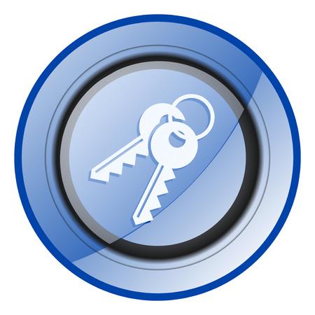 Keys round blue glossy web design icon isolated on white background Banco de Imagens