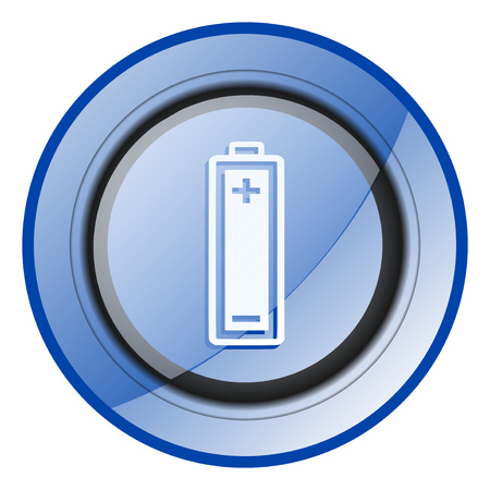 Battery round blue glossy web design icon isolated on white background