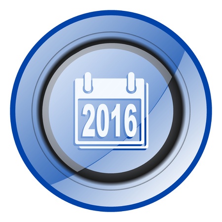 New year 2016 round blue glossy web design icon isolated on white background