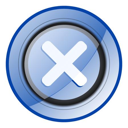 Cancel round blue glossy web design icon isolated on white background