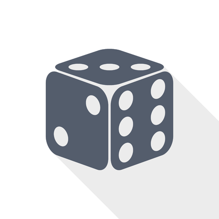Game dice sign. Casino gambling concept flat design vector icon.
