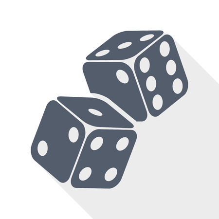 Two game dices on flight. Casino gambling concept flat design vector icon. 일러스트
