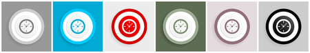 Time icon set, watch, clock sign vector illustrations in 6 colors options for web design and mobile applications in eps 10