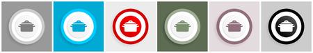 Pot icons, flat vector illustration for mobile app and web design, set of colorful internet symbols