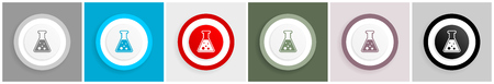 Chemical flask icon set, laboratory research sign vector illustrations in 6 colors options for web design and mobile applications in eps 10 Illustration