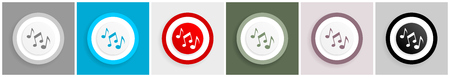 Music icon set, melody notes sign vector illustrations in 6 colors options for web design and mobile applications Vettoriali