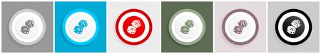 Game dice icons, gambling concept flat vector illustration for mobile app and web design, set of colorful internet symbols Ilustração