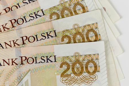 New Polish 200 zloty banknote close up, macro photo