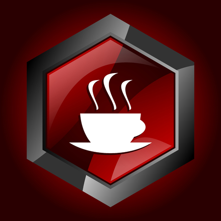 Hexagonal glossy dark red and black web coffee cup icon, vector illustration in eps 10 Illustration