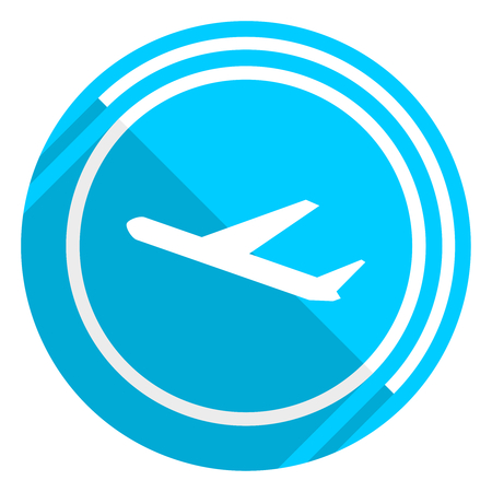 Deparures flat design blue web icon, easy to edit vector illustration for webdesign and mobile applications