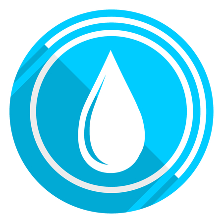 Water drop flat design blue web icon, easy to edit vector illustration for webdesign and mobile applications