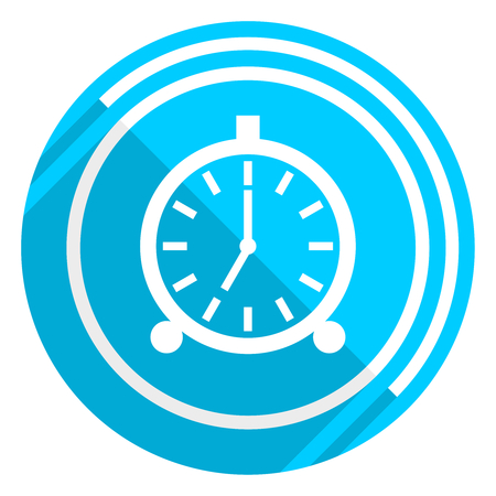 Alarm flat design blue web icon, easy to edit vector illustration for webdesign and mobile applications