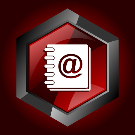 Address book hexagonal glossy dark red and black web icon, vector illustration in eps 10