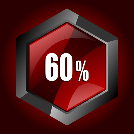 60 percent hexagonal glossy dark red and black web icon, vector illustration in eps 10  Çizim