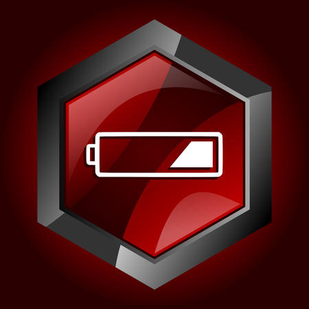 Battery hexagonal glossy dark red and black web icon, vector illustration in eps 10  Illustration